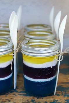 layered jelly in jars. Made to match the despicable me, colour scheme.