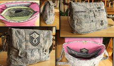 Custom Messenger Bag Handmade from Upcycled AirForce Military Uniform. Custom ordered gift to loved ones to celebrate Airman's retirement.