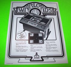 WARLORDS + RED BARON By ATARI 1981 ORIGINAL RARE NOS VIDEO ARCADE GAME FLYER #AtariWarlords #VideoGameFlyer