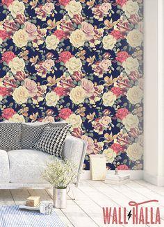 Vintage Rose Flower Wallpaper  Removable Wallpaper  Vintage