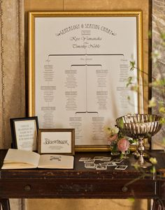 I love this seating chart!  Considering something like this (but with a matted photo of us added to it and clear table numbers in addition to headings to indicate who's who) in place of escort cards.