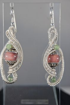 Pink Lampwork Bead, Chalcedony and Silver WireWrapped Earrings