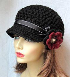 Crochet Newsboy Hat Black Ribbon Flower Gray by JadeExpressions Crochet Hat For Women, Crochet Woman, Hand Crochet, Crochet Newsboy Hat, Crochet Hats, Valentine Hats, Sombrero A Crochet, Cotton Hat, News Boy Hat
