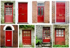 several red front doors.... how lovely!