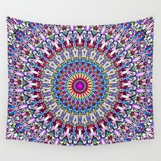 Fantasy Flower Garden Mandala Wall Tapestry by Mandala Magic by David Zydd - Small: x Mandala Tapestry, Wall Tapestry, Tapestry Floral, Mandala Art, Wall Design, Design Room, Design Art, Floral Design, Graphic Design