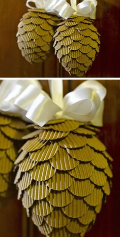 Turn Corrugated Pinecones Into Beautiful Pine Cones | Click For 28 Easy DIY Christmas  Decorations For Home | Easy DIY Christmas Ornaments Homemade