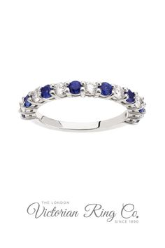 This sapphire and diamond band can be worn as a wedding ring, engagement ring or eternity ring. The bright blue sapphires alternate with high quality diamonds, all set in a comfortable to wear platinum band. Order online or visit us in London. #SapphireAndDiamondBand #SapphireDiamondWeddingRing #DapphirePlatinumWeddingRing #WeddingRing #HattonGarden #LVR #LondonVictorianRingCo