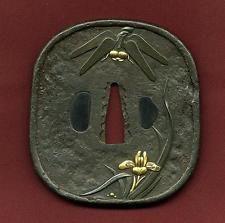 Tsuba Japanese Samurai sword Katana Koshirae guard dragonflies pattern Antique