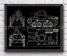 Tank 3 - PATENT PRINT / Wall Art Decor / Military Vintage Style / Perfect Gift