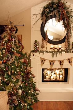 christmas tree and mantel