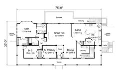 First Floor Plan of Country   Farmhouse  House Plan 95873