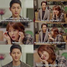 Song Joong-ki as Yoo Shi-jin and Song Hye-kyo as Kang Mo-yeon Descendants of the sun Korean Drama Funny, Korean Drama Best, Korean Drama Quotes, Korean Dramas, Korean Guys, Korean Beauty, Korean Star, Korean Actors, Quotes Drama Korea