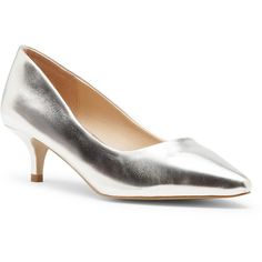 Sole Society Leia Kitten Heel Pump ($70) ❤ liked on Polyvore featuring shoes, pumps, silver, slip on pumps, pointy-toe pumps, kitten heel shoes, pointed-toe pumps and pointy toe kitten heel pumps