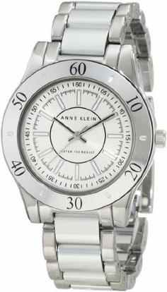 Anne Klein Women's 10/9981SVSV Silver-Tone Aluminum Bracelet Watch Anne Klein. $49.99. Silver-tone sunray dial with luminous filled in silver-tone stick markers at all hours and black printed outer minute track. Polished 36 mm silver-tone case with silver-tone aluminum bezel. Water-resistant to 30 M (99 feet). Silver-tone hour, minute and stick second hands. Polished silver-tone adjustable link bracelet with silver-tone aluminum center links, jewelry clasp closure with extenders