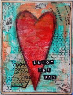 Mixed Media Heart Birthday Card by Christy Butters