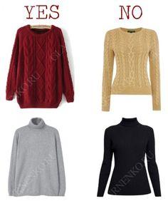 Современный базовый свитер/водолазка. Слева – подходят, справа – не подходят