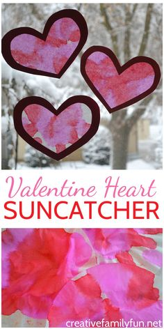 Make one Coffee Filter Valentine Heart Suncatcher or several to decorate your windows this Valentine's Day. This fun kid's craft uses simple supplies and is easy to make. #ValentinesDay #kidscraft #CreativeFamilyFun