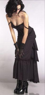 Sexy striped Gothic / Victorian dress.