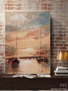 Large Sunset Landscape Painting,Sky Abstract Art Painting On Canvas,Gold Painting Orange Painting,Sea Abstract Canvas Wall Art Office Decor Oil Painting Abstract, Abstract Canvas, Painting Prints, Diy Canvas Art, Acrylic Art, Urban Art, Landscape Paintings, Ship Paintings, Amazing Art