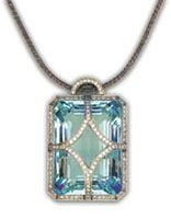 Hirsch Aquamarine: The Hirsch Aquamarine is an enormous 109.92 carat fancy emerald-cut gem. It is 100% natural, free of any heating or other color enhancing treatments as is so common in aquamarines. The color is a perfect aquatic blue as rich as the stone's wealthy namesake. The luster of this gem is absolutely amazing.