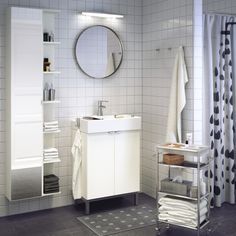 Give your mirror something to look at with LILLÅNGEN bathroom cabinets.