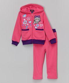 Look at this #zulilyfind! Pink Bow Kitty Zip-Up Hoodie & Pants - Toddler & Girls by Unik #zulilyfinds