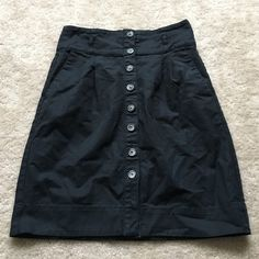 High waisted Button up skirt Size S! High waisted button up skirt! Black and has a little stretch to it  Zara Skirts Mini
