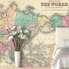 Found it at Wayfair - Colorful World Map Wall Mural