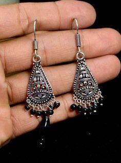 Jhumki Handmade Hook 925 Sterling Silver Plated Designer Earrings Jewelry KEF160 #krsnajewels #DropDangle