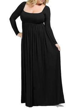 THIS IS A CLASSIC AND ELEGANT DRESS FOR ANY OCCASION. LONG SLEEVE, SQUARE NECKLINE, AND EMPIRE WAIST.