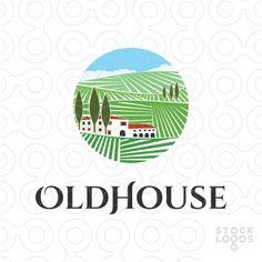 https://stocklogos.com/logo/oldhouse Tuscany vineyard inspired logo design for sale