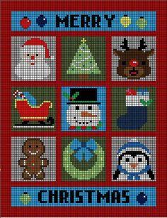 Christmas Charts, Christmas Crochet Patterns, Christmas Knitting, Christmas Cross, Crochet Cord, C2c Crochet, Crochet Stitches, Cross Stitch Designs, Cross Stitch Patterns