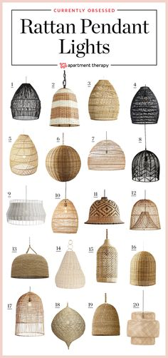 All of these would work brilliantly with Plumen and WattNott filament led bulbs (available at Plumen.com) >>> Rattan pendants are essentially upside down baskets (without handles) with a light in them, and we love them the same anyway. They add undeniable character due to their texture and handmade quality to a home. We love them in pairs over a kitchen island, on their own as a statement chandelier in a bedroom or living room. They give every space a boho aesthetic that is cool and chic.