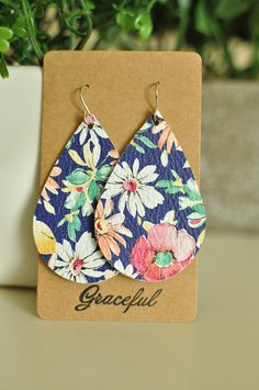 Floral Leather Earrings - Teardrop - Handmade