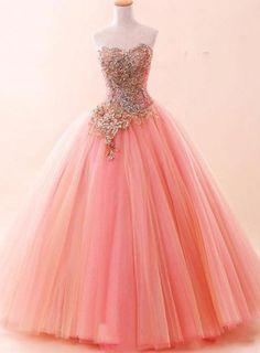 Tul De Novia Quinceañera Vestido Largo Formal Noche Fiesta Prom Ball Gown