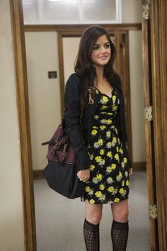 Aria's chic floral dress and knee high sock combination. | 25 Pretty Little Liar Fashions We Envy