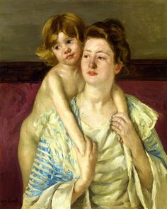 Antoinette Holding Her Child by Both Hands Mary Cassatt - circa 1899