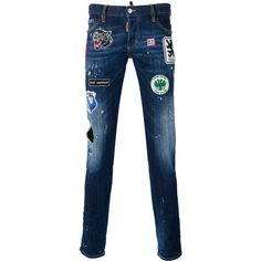 Dsquared2 Slim distressed patch jeans (9.097.810 IDR) ❤ liked on Polyvore featuring men's fashion, men's clothing, men's jeans, blue, mens patchwork jeans, mens slim cut jeans, mens ripped jeans, mens blue jeans and mens blue ripped jeans