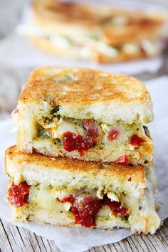 Pesto, Brie, and Sweet Pepper Grilled Cheese Sandwich Recipe on twopeasandtheirpod.com