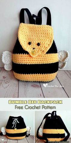 This Bumble Bee Backpack Crochet Free Pattern is a cute and fun little pattern that kids will love. Make one now with the free pattern provided by the link below. Crochet Bee, Bag Crochet, Crochet Handbags, Crochet For Kids, Free Crochet, Crochet Purses, Crotchet, Purse Patterns, Crochet Patterns