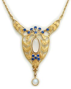 Art Nouveau Montana Sapphire, Moonstone And Gold Necklace - By Louis Comfort Tiffany For Tiffany And Company