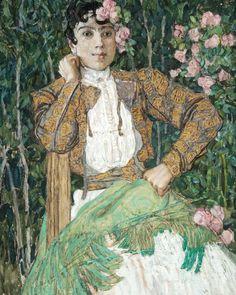 A Spanish Woman in Green. 1906-1907 by Aleksandr Golovin (Russian 1863 – 1930)