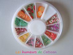 Boîte 120 tranches de cane polymère motif Fruits@Les humeurs de Catsoan : Perles en pâte polymère, FIMO par les-humeurs-de-catsoan