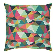Bomuld pink/mint/brun bølget trekantet - Stof & Stil