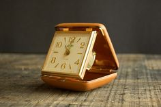 vintage travelling clock - folded up into carrying case