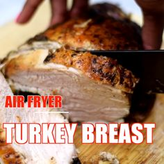 Easy Air Fryer Turkey Breast is a quick recipe that uses a 3 to 4 pound (lb), bone-in or boneless breast. This air fried dish includes a tutorial for how to cook, how long to cook, and the perfect temperature. Air Fryer Recipes Snacks, Air Fryer Recipes Low Carb, Air Fryer Recipes Breakfast, Air Frier Recipes, Air Fryer Dinner Recipes, Turkey Cutlets, Easy Thanksgiving Recipes, Thanksgiving Turkey, Holiday Recipes
