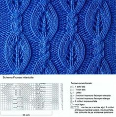 leaf patterm, entangled with chart - romanian Lace Knitting Stitches, Cable Knitting Patterns, Knitting Charts, Hand Knitting, Lace Patterns, Stitch Patterns, Crochet Patterns, Knitting Projects, Cable Chart