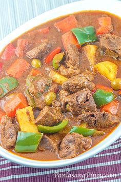Kalderetang Baka or Beef Caldereta is one of the top Filipino Recipes cooked during Fiesta and birthdays. Learn how to cook this dish through our easy step by step procedure. Beef Kaldereta Recipe, Caldereta Recipe, Beef Caldereta, Asian Recipes, Beef Recipes, Cooking Recipes, Healthy Recipes, Easy Filipino Recipes, Vegetarian Recipes