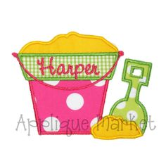 Good applique for girls or boys (just use a different applique fabric) It's so cute for summer.  The font is sweet too.