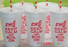 Crawfish Boil Party Cups-Graduation Party-Set of 10